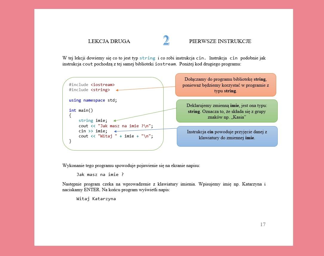 Książka C++ Programowanie dla dzieci Lekcja 2 Pierwsze instrukcje